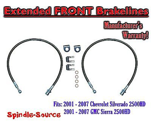 2001 - 07 Chevy Silverado GMC Sierra 2500HD Stainless Steel Extended Brake Lines