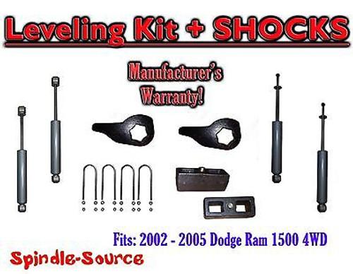 """2002 - 05 Dodge RAM 1500 4x4 4WD 1-3"""" / 3"""" Torsion Leveling KIT Keys + Shocks"""
