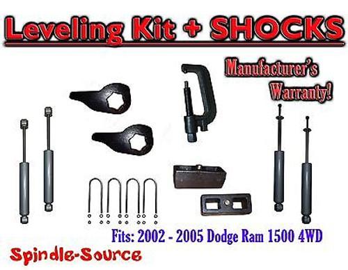 "2002 - 05 Dodge RAM 1500 4x4 4WD 1-3"" / 2"" Torsion Leveling KIT + Shocks + TOOL"
