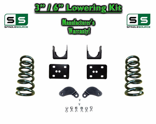 """2002 - 08 Dodge Ram 1500 V8 3"""" / 6"""" Lowering Drop Kit 2WD Coils Flip, Shock Ext."""