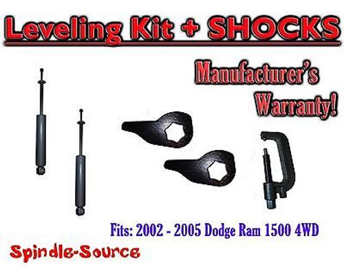 "2002 - 2005 Dodge RAM 1500 4x4 4WD 1"" - 3"" Torsion Leveling Keys + Shocks + TOOL"