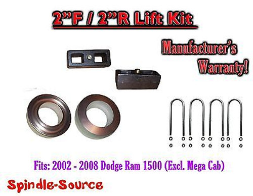 """2002 - 2008 Dodge Ram 1500 2WD 2F / 2R inch Coil Spacer Block Lift Level Kit 2"""""""
