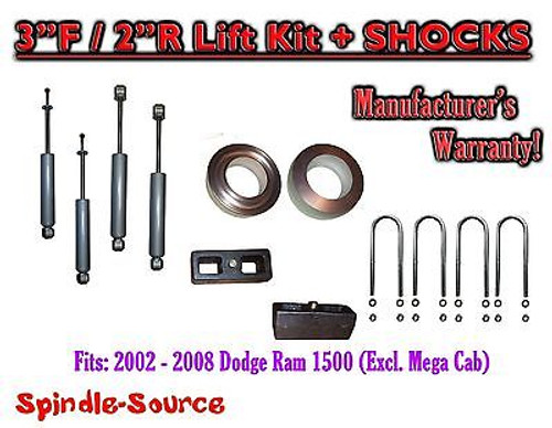 """2002 - 2008 Dodge Ram 1500 2WD 3F / 2R inch Coil Spacer Block Lift 3"""" + SHOCKS"""