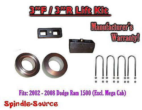 """2002 - 2008 Dodge Ram 1500 2WD 3"""" inch Coil Spacer Block Lift Level Kit 3F / 3R"""