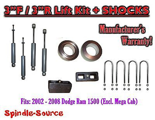 """2002 - 2008 Dodge Ram 1500 2WD 3F / 3R inch Coil Spacer Block Lift 3"""" + SHOCKS"""