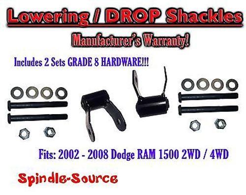 "2002 - 2008 Dodge Ram 1500 2"" Drop Lowering Shackles 2WD 4x4 Grade 8 hardware x2"