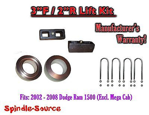 """2002 - 2008 Dodge Ram 1500 2WD 3F / 2R inch Coil Spacer Block Lift Level Kit 3"""""""