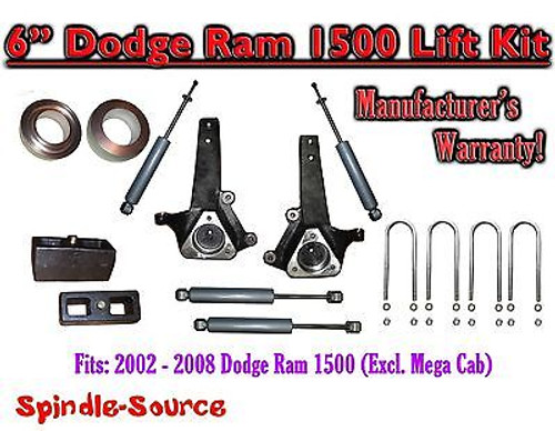 """2002 - 2008 Dodge Ram 1500 2WD 6"""" Front 3"""" Rear Spindle Coil Block Lift + SHOCKS"""