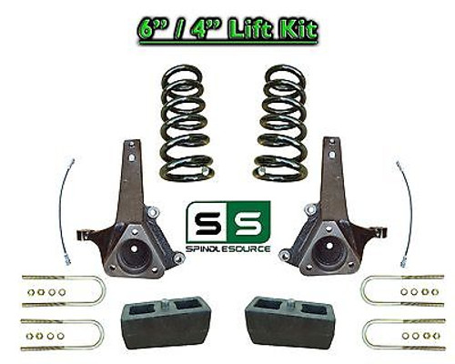"2002 - 2008 Dodge Ram 1500 2WD 6"" Front 4"" Rear Spindle LIFT COILS Lift Kit V6"
