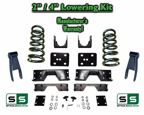 "2002 - 2008 Dodge Ram 1500 V6 2"" / 4"" Lowering Drop Kit 2WD Coils Flip + C-Notch"