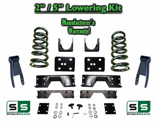 "2002 - 2008 Dodge Ram 1500 V6 2"" / 5"" Lowering Drop Kit 2WD Coils Flip + C-Notch"