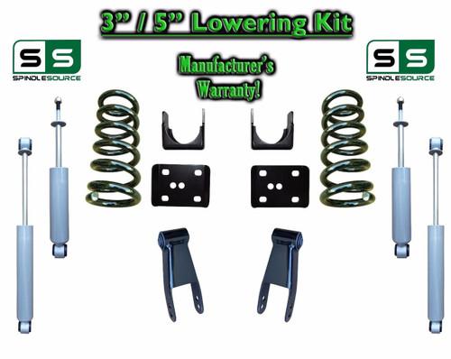 """2002 - 2008 Dodge Ram 1500 V6 3"""" / 5"""" Lowering Drop Kit 2WD Coils Flip + SHOCKS"""