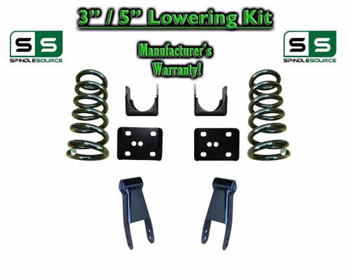 """2002 - 2008 Dodge Ram 1500 V6 3"""" / 5"""" Lowering Drop Kit 2WD Coils Flip Shackles"""
