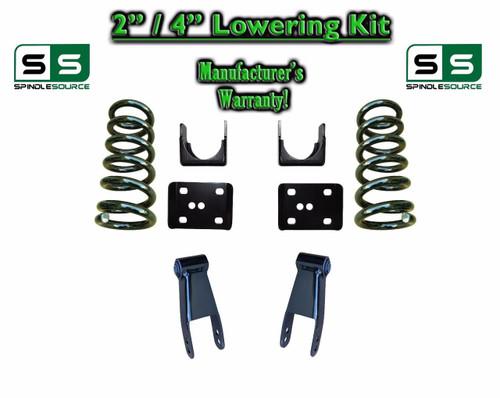 """2002 - 2008 Dodge Ram 1500 V8 2"""" / 4"""" Lowering Drop Kit 2WD Coils Flip Shackles"""