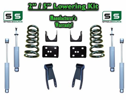 """2002 - 2008 Dodge Ram 1500 V8 2"""" / 5"""" Lowering Drop Kit 2WD Coils Flip + SHOCKS"""