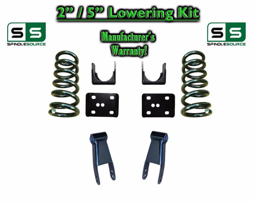 """2002 - 2008 Dodge Ram 1500 V8 2"""" / 5"""" Lowering Drop Kit 2WD Coils Flip Shackles"""