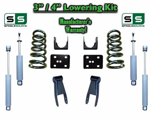 """2002 - 2008 Dodge Ram 1500 V8 3"""" / 4"""" Lowering Drop Kit 2WD Coils Flip + SHOCKS"""