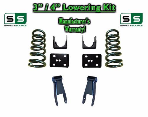 """2002 - 2008 Dodge Ram 1500 V8 3"""" / 4"""" Lowering Drop Kit 2WD Coils Flip Shackles"""