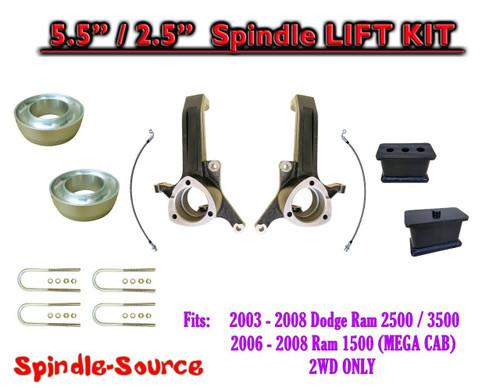 """2003 - 2008 Dodge Ram 2500 3500 (1500 MEGA CAB) 2WD 5.5"""" / 2.5"""" LIFT KIT UBH"""