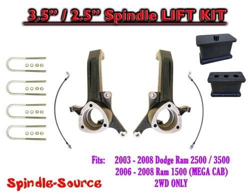 """2003 - 2008 Dodge Ram 2500 3500 (1500 MEGA CAB) 2WD 3.5"""" / 2.5"""" LIFT KIT UBH"""