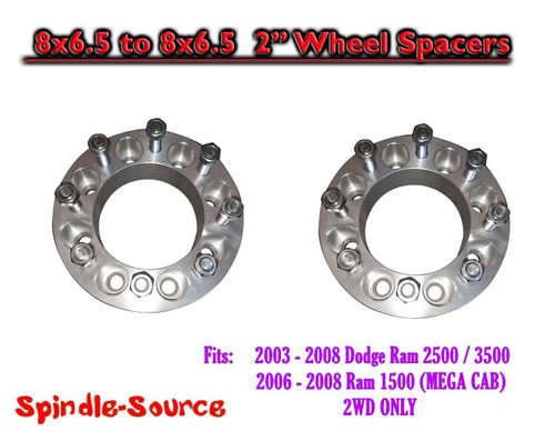 """2003 - 2008 Dodge Ram 2500 3500 8 x 6.5 to 8x6.5 TWO Wheel Spacers 2"""" Inch"""