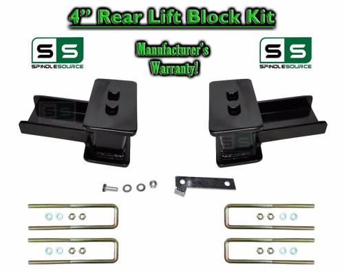 """2004 - 2018 Ford F-150 F150 REAR 4"""" inch Tapered Fab Lift Blocks Bumpstop + Ubolts"""