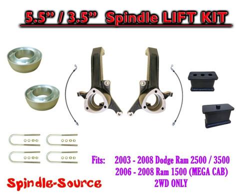 """2003 - 2008 Dodge Ram 2500 3500 (1500 MEGA CAB) 2WD 5.5"""" / 3.5"""" LIFT KIT UBH"""