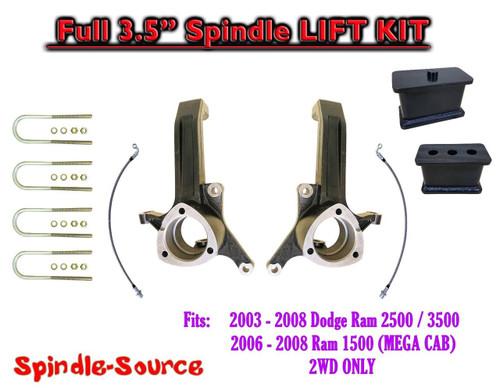 """2003 - 2008 Dodge Ram 2500 3500 (1500 MEGA CAB) 2WD FULL 3.5"""" LIFT KIT UBH"""