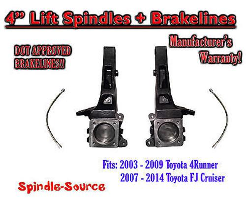 "2003 - 2015 Toyota 4Runner / 2007 - 2014 FJ Cruiser 4"" inch Lift Spindles 2WD"