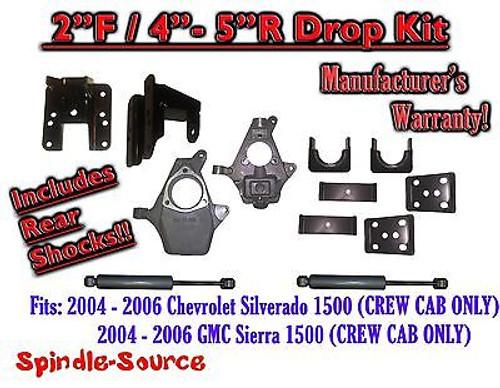 "2004 - 2006 Chevy Silverado GMC Sierra CREW CAB 2/4"" - 2/5"" DROP KIT + SHOCKS"