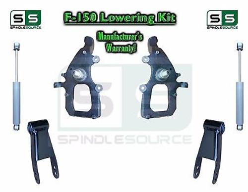 "2004 - 2008 Ford F-150 2WD 2"" / 3"" Drop Lowering Kit Spindles Shackles + SHOCKS"