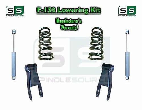 """2004 - 2014 Ford F-150 F150 3"""" / 3"""" Drop Lowering Kit Coils Shackles + SHOCKS"""