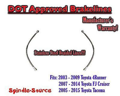 2005 - 2015 Toyota Tacoma FJ Cruiser 4Runner Extended Braided STEEL Brake Lines