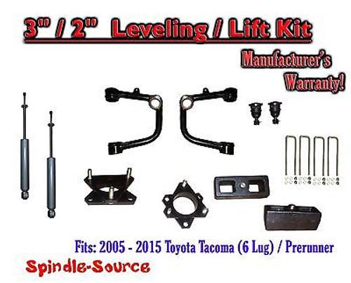"2005 - 2016 Toyota Tacoma 3"" / 2"" Lift Kit + TUBULAR Upper Arms UCA + SHOCKS"