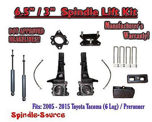 "2005 - 2016 Toyota Tacoma 6 Lug / Prerunner 6.5"" / 3"" Lift Kit Spindles + SHOCKS"