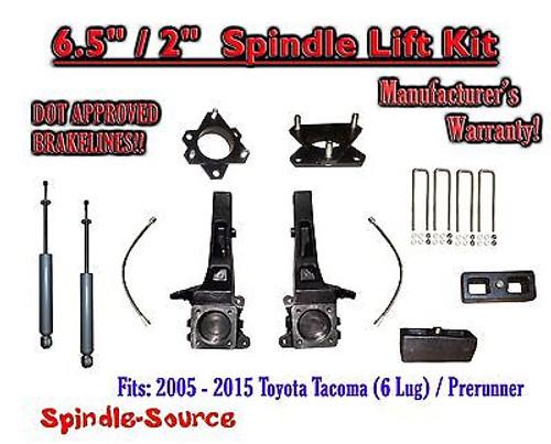 "2005 - 2016 Toyota Tacoma 6 Lug / Prerunner 6.5"" / 2"" Lift Kit Spindles + SHOCKS"