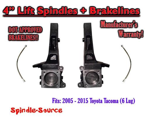 "2005 - 2018 Toyota Tacoma 6 Lug / Prerunner 4"" inch Lift Spindles Brakelines 2WD"