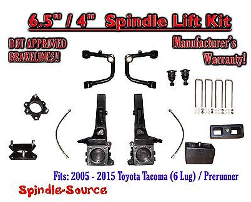 """2005 - 2016 Toyota Tacoma Prerunner 6.5"""" / 4"""" Lift Kit Spindles, Upper Arms UCA"""
