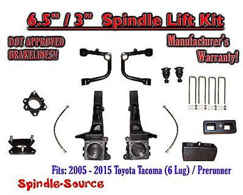 """2005 - 2016 Toyota Tacoma Prerunner 6.5"""" / 3"""" Lift Kit Spindles, Upper Arms UCA"""