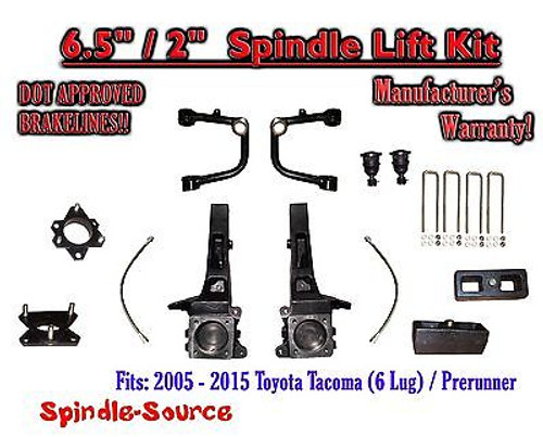 """2005 - 2016 Toyota Tacoma Prerunner 6.5"""" / 2"""" Lift Kit Spindles, Upper Arms UCA"""