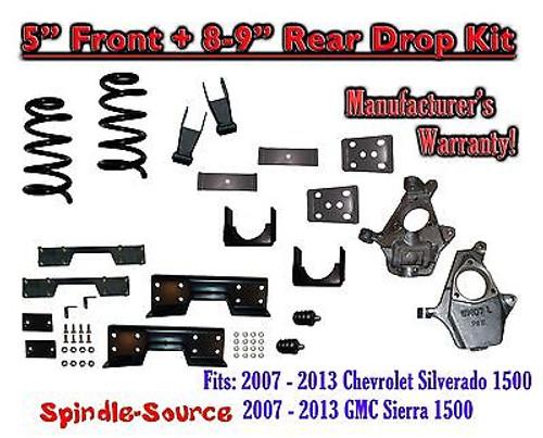 "2007 - 13 Chevy Silverado / GMC Sierra 1500 5"" / 8 - 9"" Drop Lower Kit + C-NOTCH"