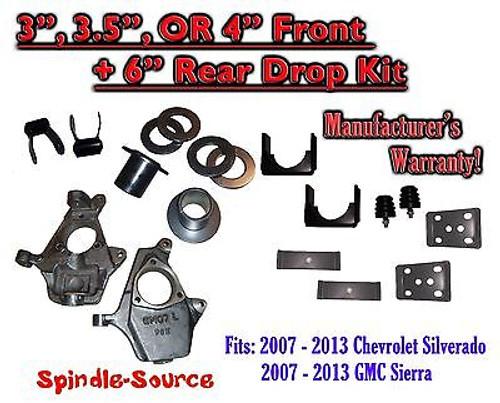 "2007 - 13 Chevrolet Silverado / GMC Sierra 1500 3"" - 4"" / 6"" Lowering Drop kit"