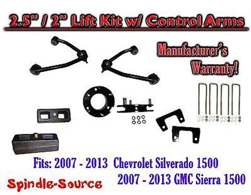 "2007 - 13 Chevy Silverado GMC Sierra 1500 2.5"" inch / 2"" CONTROL ARM LIFT KIT"