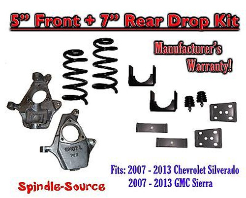 "2007 - 13 Chevrolet Silverado / GMC Sierra 1500 V8 5"" / 7"" Lowering Drop kit"