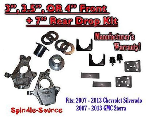 "2007 - 13 Chevrolet Silverado / GMC Sierra 1500 3"" - 4"" / 7"" Lowering Drop kit"