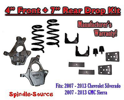 "2007 - 13 Chevrolet Silverado / GMC Sierra 1500 V6 4"" / 7"" Lowering Drop kit"