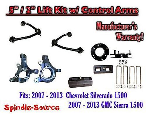 "2007 - 13 Chevy Silverado GMC Sierra 1500 5"" / 2"" Spindle Lift KIT Control Arms"