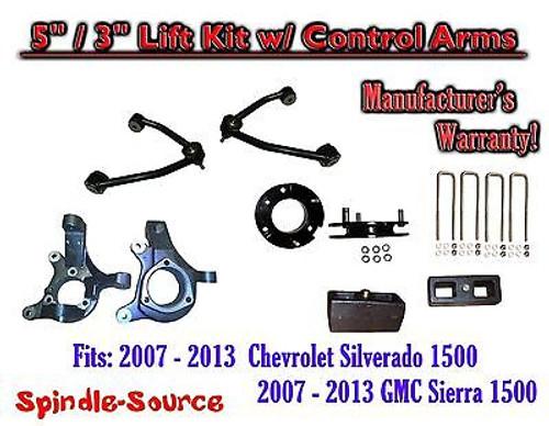 "2007 - 13 Chevy Silverado GMC Sierra 1500 5"" / 3"" Spindle Lift KIT Control Arms"