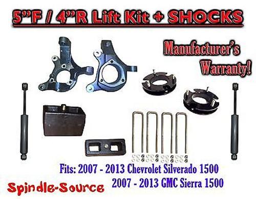 "2007 - 13 Chevy Silverado GMC Sierra 1500 5"" / 4"" Spindle 2WD LIFT KIT + SHOCKS"
