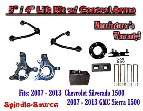 "2007 - 13 Chevy Silverado GMC Sierra 1500 5"" / 4"" Spindle Lift KIT Control Arms"